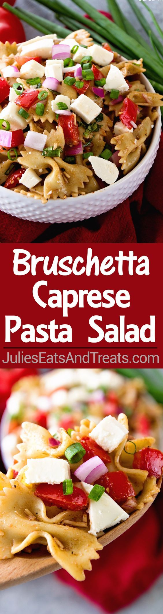 Bruschetta Caprese Pasta Salad Recipe ~ Two of You Favorites Come Together In this Delicious Pasta Salad Loaded with Tomatoes, Red Onions, Fresh Mozzarella in a Tangy Balsamic Dressing! Perfect Side Dish for Grilling and Summer Cook Outs! #BushelBoyTomatoes