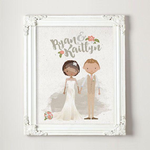 Regalo personalizzato matrimonio illustrato coppia ritratto anniversario nuziale doccia regalo • Valentino • 8 x 10 x 11 14