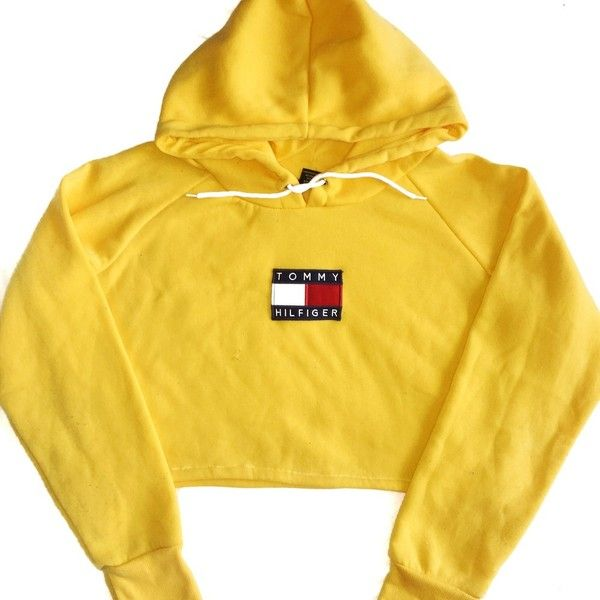 Reworked Tommy Flag Crop Hoody Yellow (£39) ❤ liked on Polyvore featuring tops, hoodies, yellow crop top, yellow top, cut-out crop tops and crop top