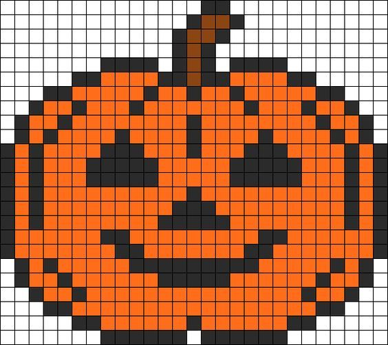 Halloween Pumpkin perler bead pattern: