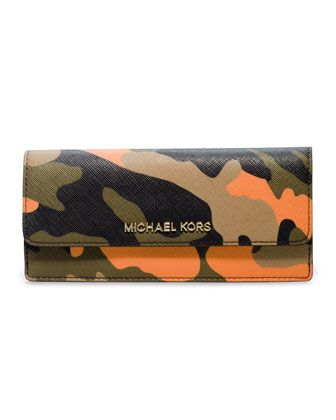 MICHAEL Michael Kors  Jet Set Camo Travel Flat Wallet.