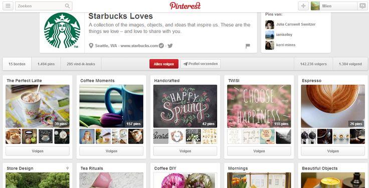 Ook starbucks maakt gebruik van pinterest om dichtbij de klanten te staan. Ze delen waarvan ze zelf houden zoals citaten, schattige koffietasjes,... http://www.pinterest.com/starbucks/