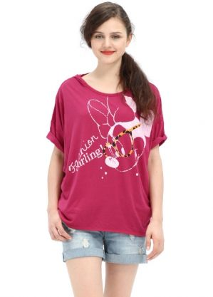 Disney Series Minnie Fashion Glasses Maternity and Breastfeeding T-Shirts Nomor produk:13809