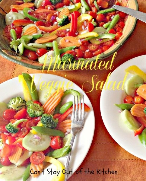 Marinated Veggie Salad - spectacular #veggie #salad. Marinade is #vegan, #glutenfree and no oil! #sidedish via Can't Stay Out of the Kitchen