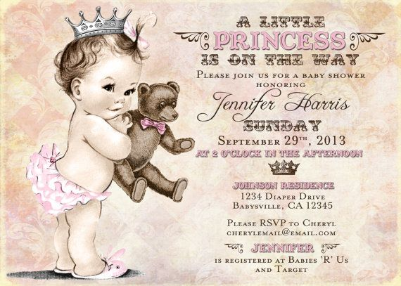Teddy Bear Baby Shower Invitation For Girl - Princess - Crown - Pink - DIY Printable