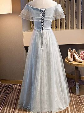 Shop Gray Off Shoulder Sheer Mesh Ruffle Lace Up Back Tulle Maxi Prom Dress from choies.com .Free shipping Worldwide.$61.19