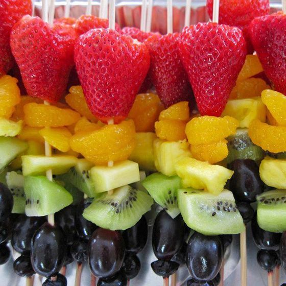 Fruit Kabob | These multicoloured crowd-pleasers are perfect for large gatherings. Older kids can even help with the assembly.