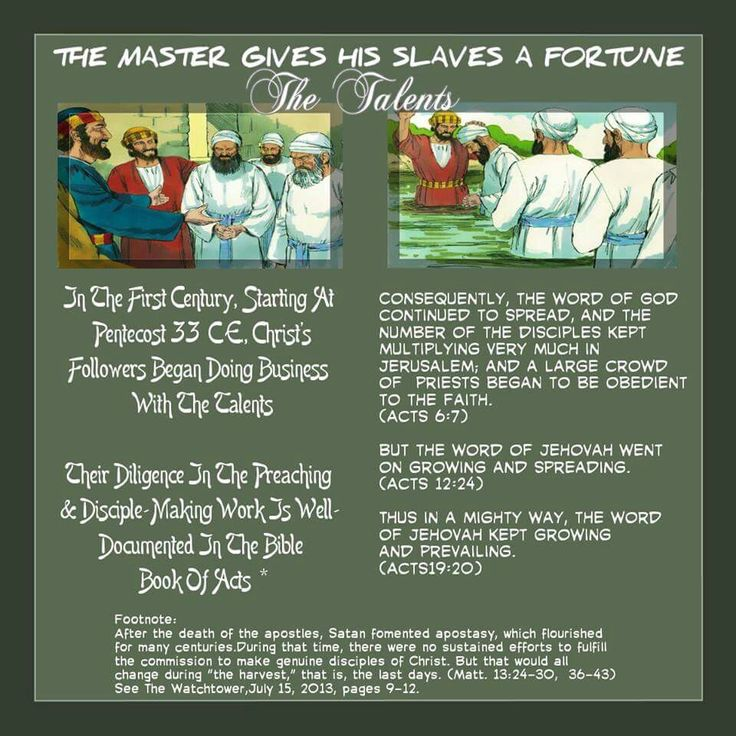 THE MASTER GIVES HIS SLAVES A FORTUNE The Talents  // In The First Century, Starting At Pentecost 33C.E.,  Christ's Followers Began Doing Business With  The Talents//  Their Diligence In The Preaching & Disciple- Making Work Is Well-Documented In The Bible  Book Of Acts*//  Consequently, the word of God continued to  spread,and the number of the disciples kept  multiplying very muchin Jerusalem; and a large  crowd of priests began to be obedient to the faith.  (Acts 6:7)// But the word…