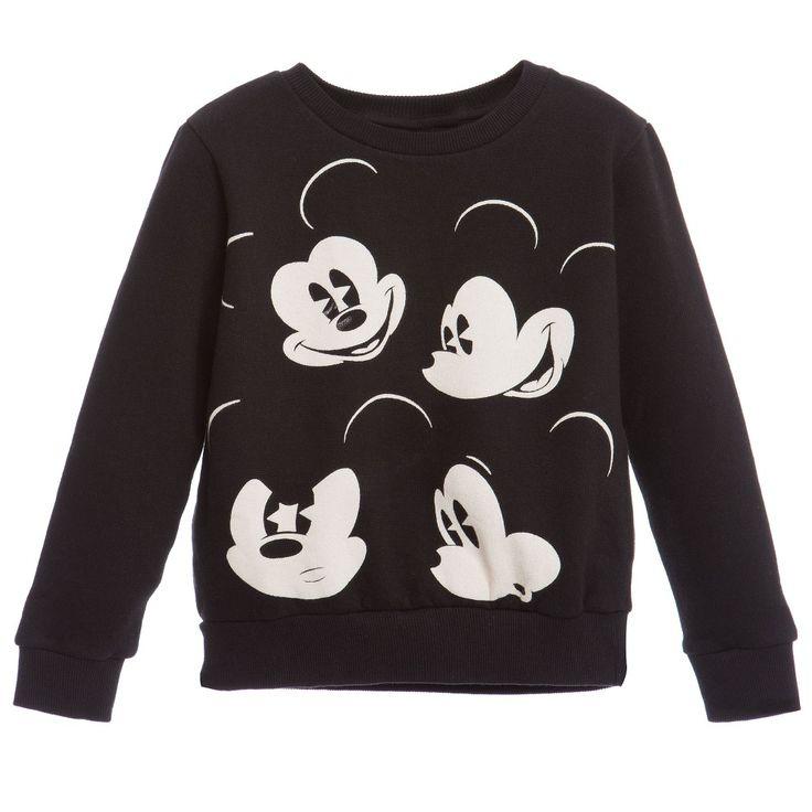 Little Eleven Paris Unisex Black 'Mickey Mouse' Sweatshirt at Childrensalon.com
