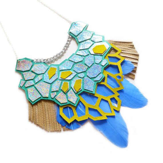 Geometric Hologram Statement Necklace Teal and Green Hexagon Feather Jewelry by BooandBooFactory, $136.00