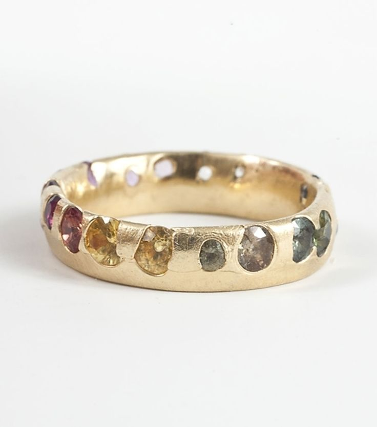 Multi-color Sapphires & Yellow Gold Ring