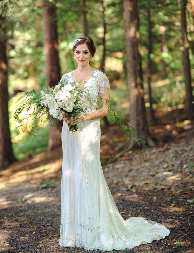 We <3 this bride's rose + fern bouquet + Jenny Packham wedding dress!