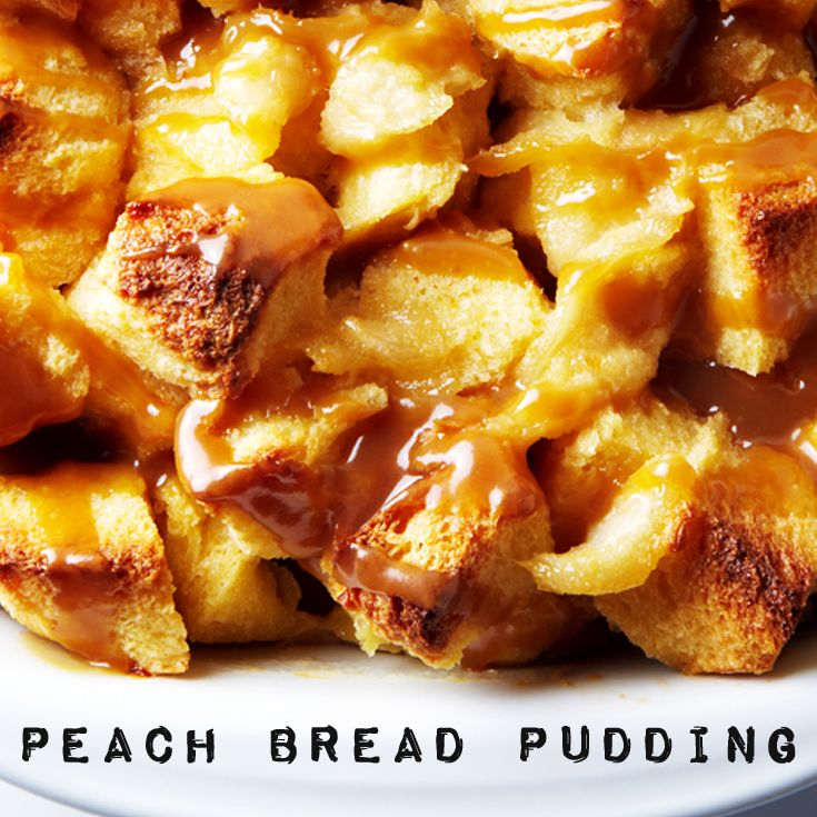 Peach Bread Pudding with Homemade Caramel Sauce #BiteMeMore #recipes #dessert