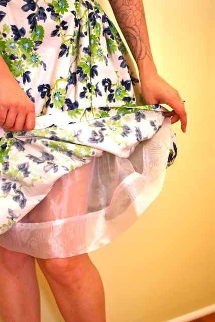 lining a skirt with poly organza for volume