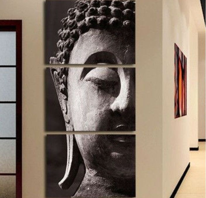Oil Painting 3 Panel Wall Art Religion Buddha Oil Painting On Canvas Framed