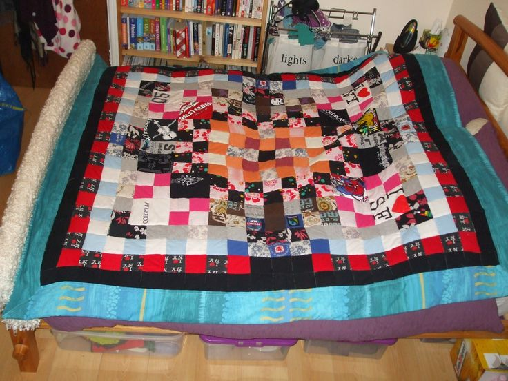 A Patchwork quilt from old clothes