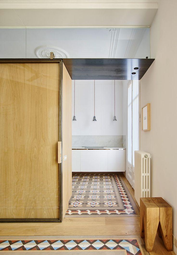 e15 solid wood stool BACKENZAHN™ featured in mosaic-floored, 19th-century Barcelona apartment. / www.e15.com #e15 #oak