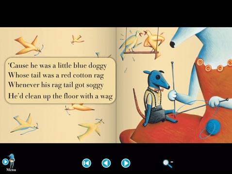 The Little Blue Doggy app, based on the original book-CD. All songs were written by Lionel Daunais and illustrated by Marie France.