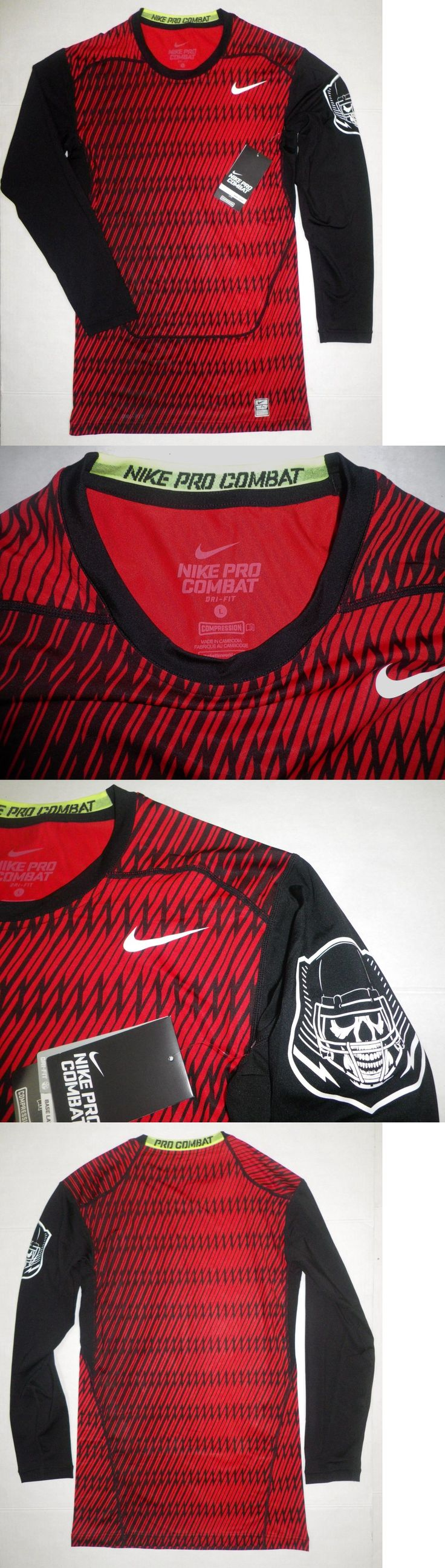 Compression and Base Layers 179825: Nwt Nike Pro Combat Long Sleeve Competition Base Layer Shirt Top Blk Red Mens L -> BUY IT NOW ONLY: $33.99 on eBay!