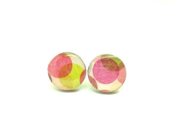 Confetti Stud Earrings Green and Marroon Spots by PrettyKiku