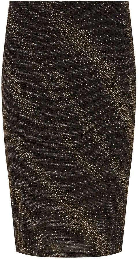 Dorothy Perkins Petite Gold Shimmer Black Tube Skirt