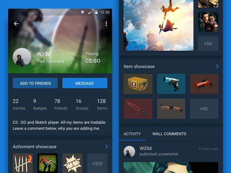 Steam's user page