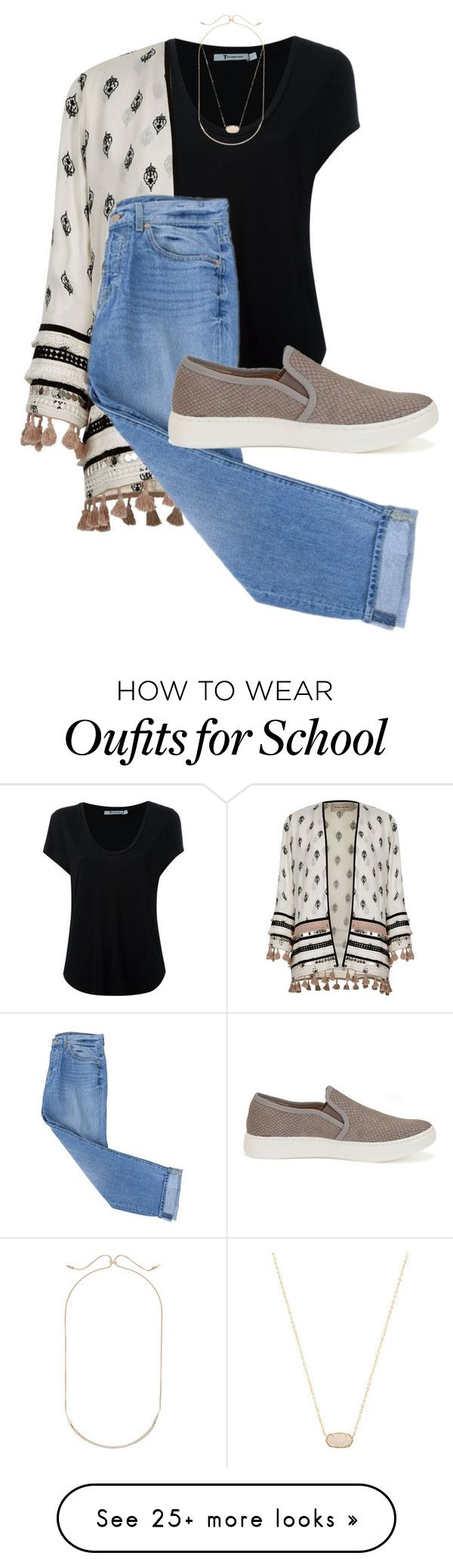 """back to school contest:)"" by libbyford on Polyvore featuring Alexander Wang, River Island, 7 For All Mankind, Söfft and Kendra Scott"