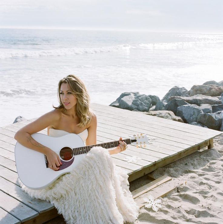 colbie caillat, white, guitar, photoshoot
