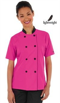 Women's Double Breasted Chef Coat - Plastic Buttons - 65/35 Poly/Cotton Poplin Style #  861311 #chefuniforms #womensclothing #black #chefcoat #style