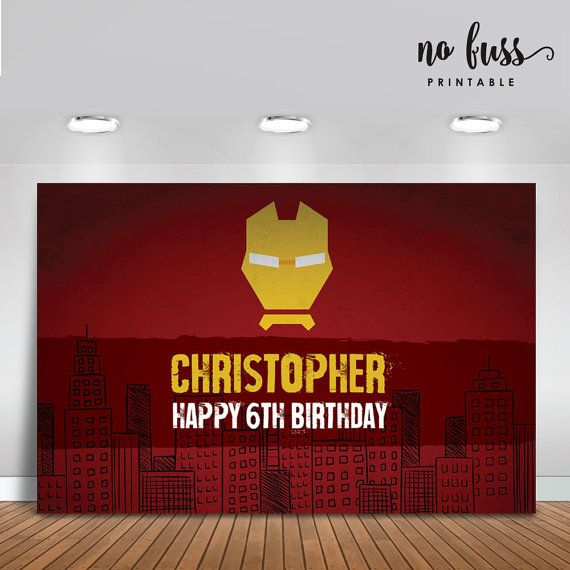 Iron Man Birthday Printbale Backdrop  Party by NoFussPrintable
