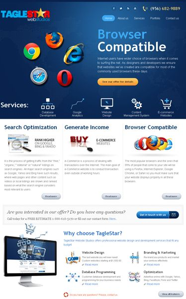 Website Design and Development for Tagle Star Web Studiouz