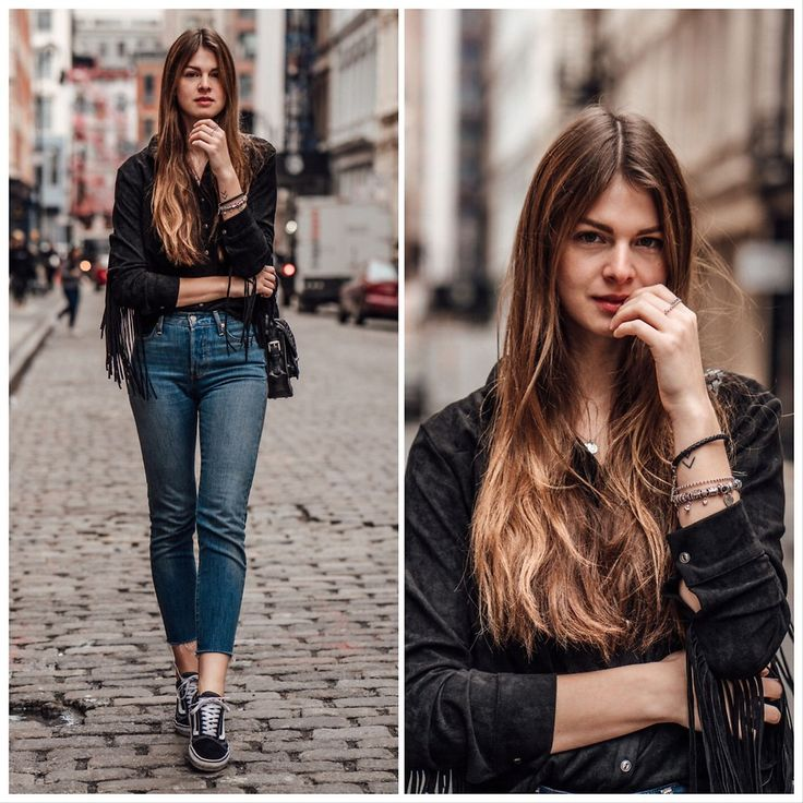 Jacky - Levi's® Blue Jeans, Missguided Fringe Shirt, Cala Jade Shoulderbag, Vans, Pandora Jewelry - New York Streetstyle: Blue Jeans and Fringe Shirt
