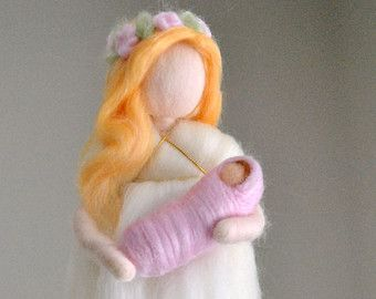Needle Felted 4 SEASONAL FAIRIES Wool Doll Angel di Holichsmir