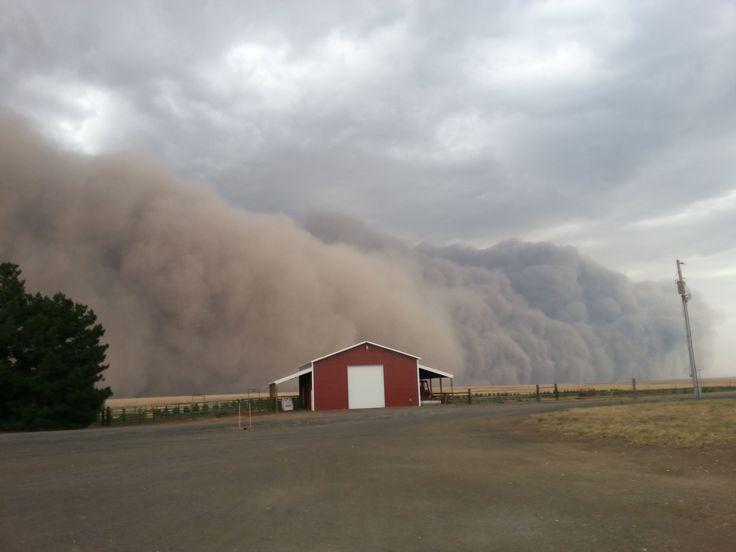 A massive, dramatic dust storm moves toward a barn near Harrington, Washington, USA, Aug. 12, 2014.
