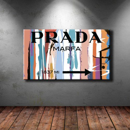 Large Box Framed Canvas Print Artwork Stretched Gallery Wrapped Wall Art Painting Hanging Original Decorative Modern Home Living Decor Prada Marfa Fashion
