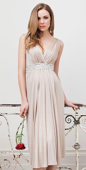 Anastasia Maternity Dress Short (Gold Dust) by Tiffany Rose