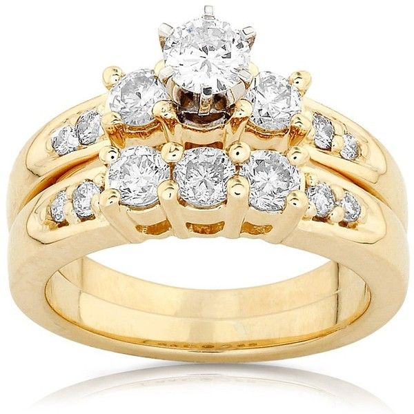 Diamond Wedding Set 1 carat (ctw) in 14K Yellow Gold ($1,650) ❤ liked on Polyvore featuring jewelry, rings, anel, gold rings, 14 karat gold ring, wedding jewelry, 14k ring and diamond rings