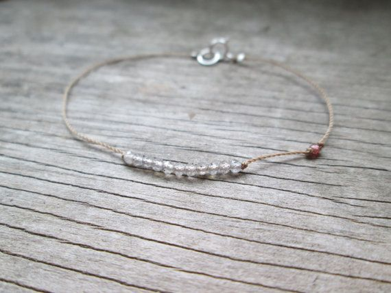tiniest LABRADORITE and garnet silk cord bracelet hand by SoulSilk