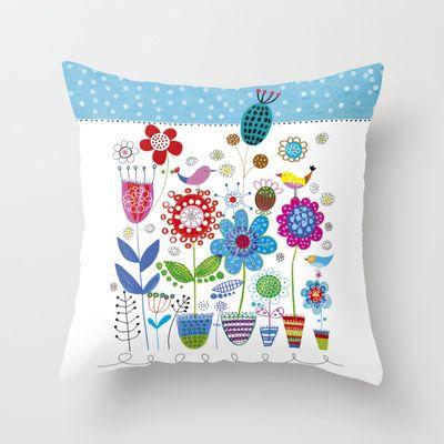 flower power Throw Pillow by Marianna Jagoda design -