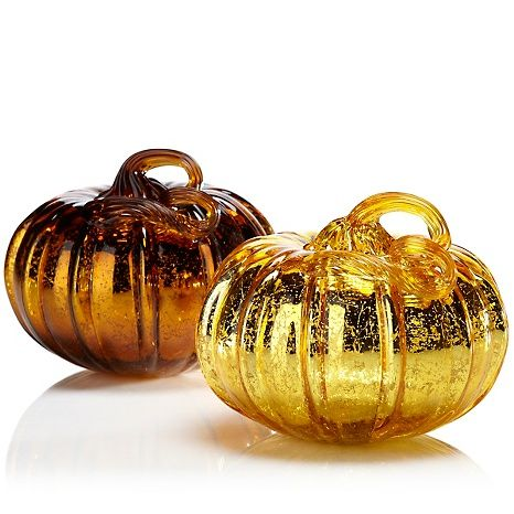 Mercury Glass Set of 2 Pumpkins