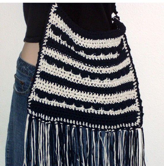 Crochet Fringe Bag : Hobo Purse and Hippie Fringe Bag Crochet Patterns PDF 2 Patterns