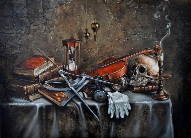 Vanitas vanitatum  Kunstdruck Freimaurerisches Ölgemälde von Jens Rusch