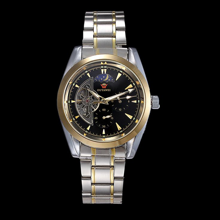 OUYAWEI 1113 Men Half Cut out Dial Mechanical Watch with Stainless Steel Strap Relojes Hombre 2015 Man Watches Relogio Masculino-in Mechanical Watches from Watches on Aliexpress.com | Alibaba Group