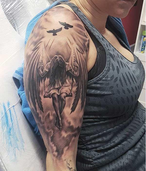 Unterarm engel tattoo frau Engel Tattoo