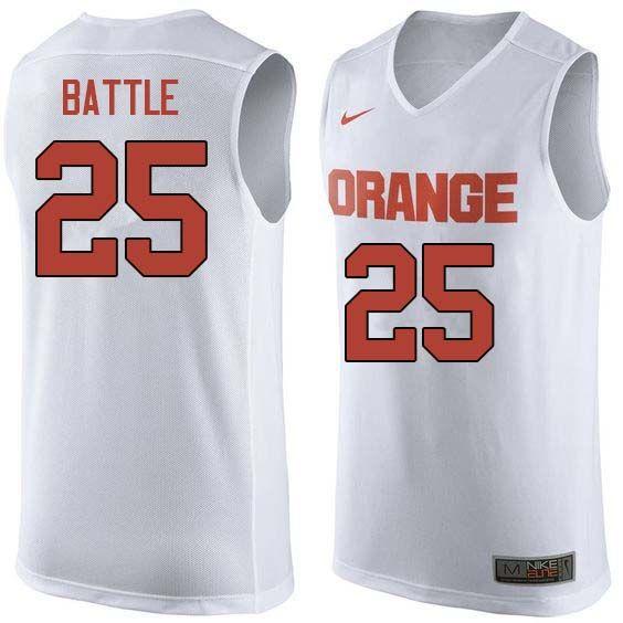 19541ad4a Men  25 Tyus Battle Syracuse White College Basketball Jerseys Sale-White