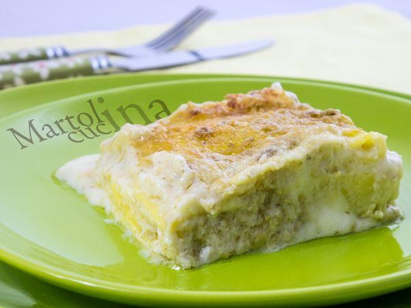Lasagne con gorgonzola, stracchino e pesto di carciofi