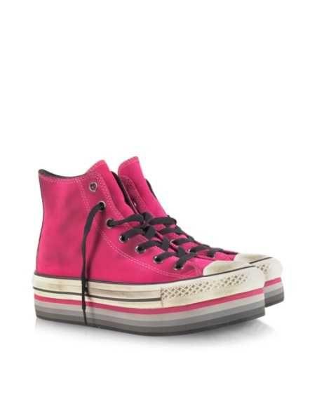 Acquista Converse Limited Edition Sneaker in Suede Fucsia con Zeppa a Righe Donna -