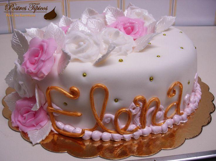 Elegante torta de cumpleaños de fondant con rosas Una buena elección para sorprender a alguien