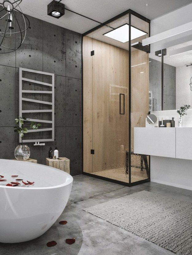 grey bathroom. This stylish grey bathroom has used light wood effect tiles to make a  feature of the 83 best Grey Bathrooms images on Pinterest Bathroom ideas