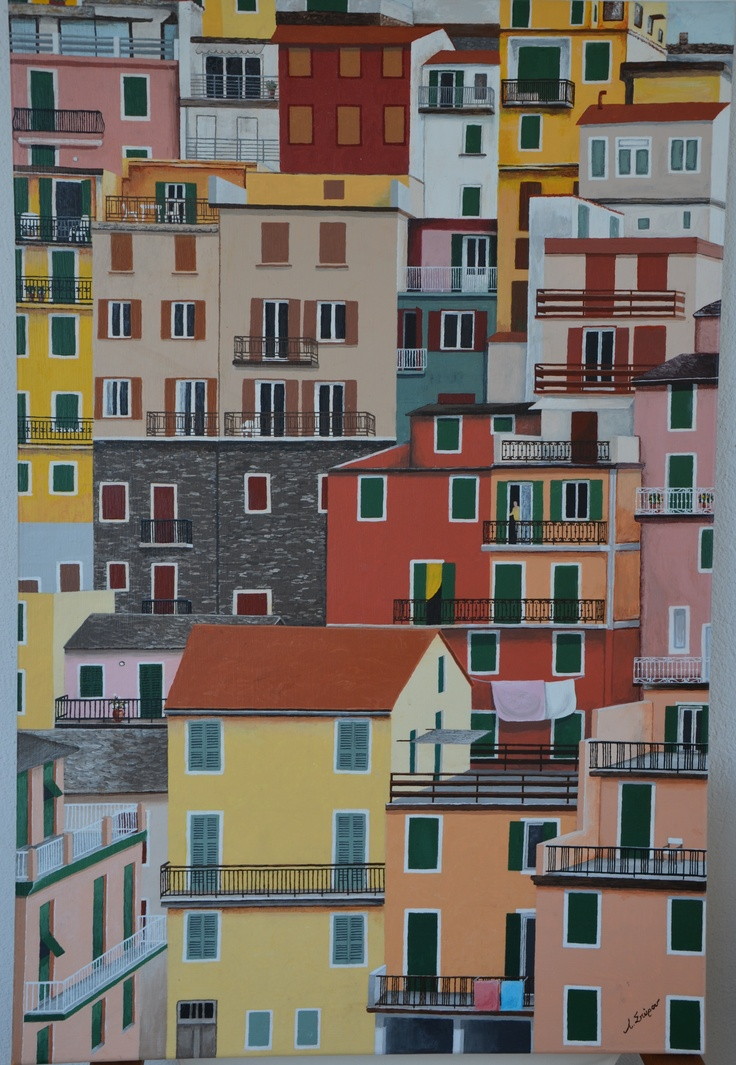 The beautiful colors of Manarola, Italy, painted on a canvas